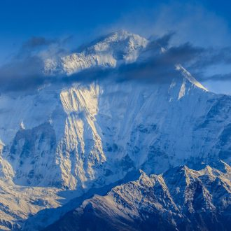 Early morning lights on Dhaulagiri Mountain with 8,167 meters in Himalaya.