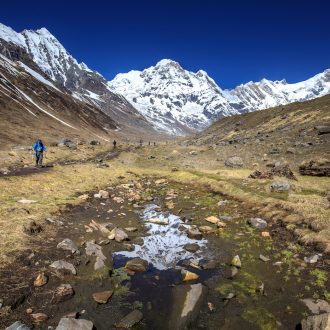 Mountaineers walking among mountains in the Annapurna region.