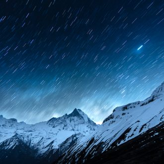 Movement of the stars under a moonlit night in the Himalaya Mountains.
