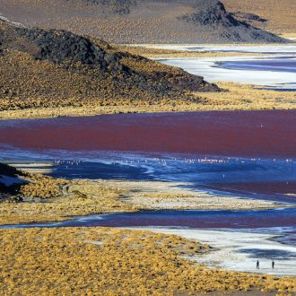 Two people walk on the shore of Laguna Colorada in the Bolivian Altiplano.